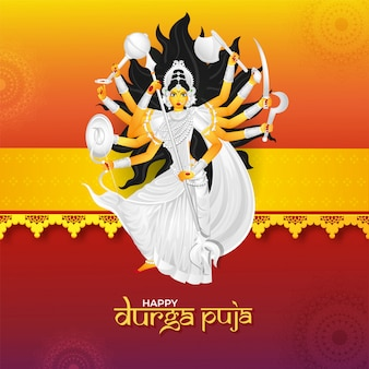 Happy durga puja celebration greeting card design
