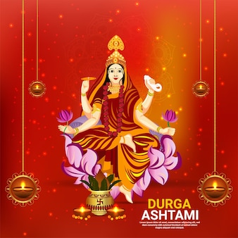 インドの女神のベクトルイラストと幸せなドゥルガープジャーのお祝いグリーティングカード