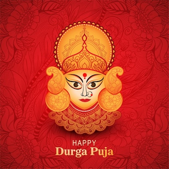 Happy durga puja festival celebration card for red background