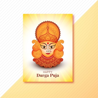 Happy durga puja festival celebration greeting card design