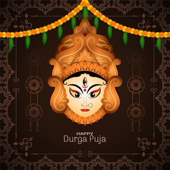 Happy durga puja festival and navratri decorative background