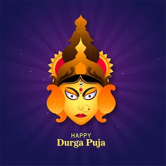 Happy durga puja greeting card festival background