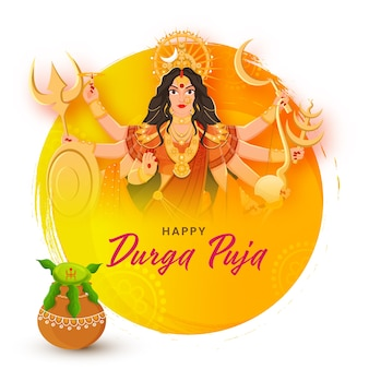 Happy durga puja greeting design