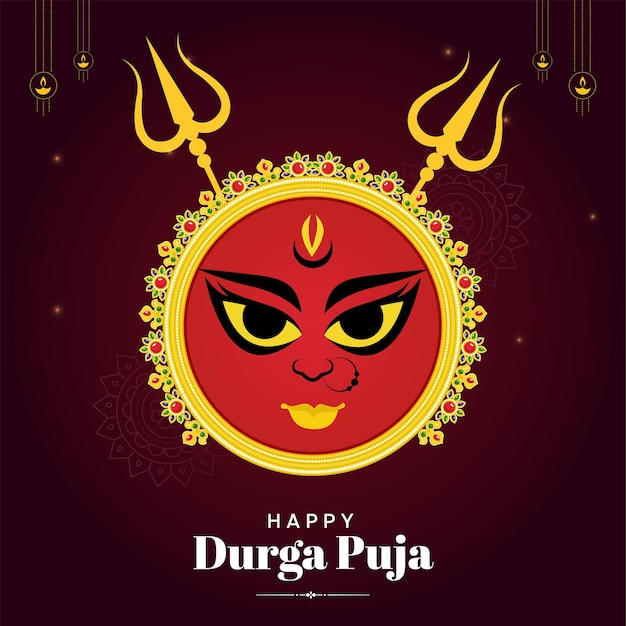 Happy durga puja indian festival banner design