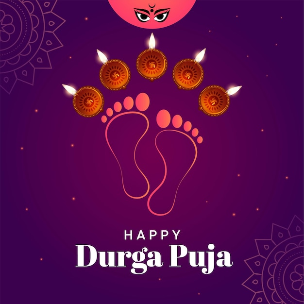 Happy durga puja indian festival banner template
