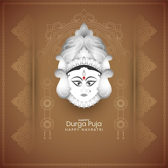 Happy durga puja and navratri religious festival ethnic background vector