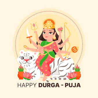Happy durga-puja woman with eight arms