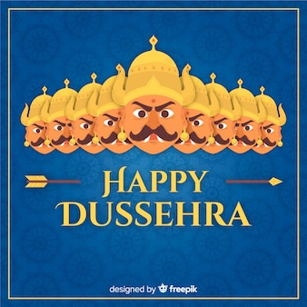Happy dussehra background in hand drawn style