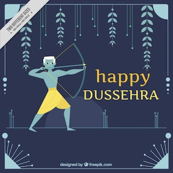 Happy dussehra background with bow and natural elements