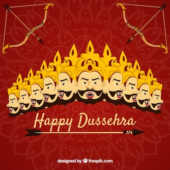 Happy dussehra background with faces