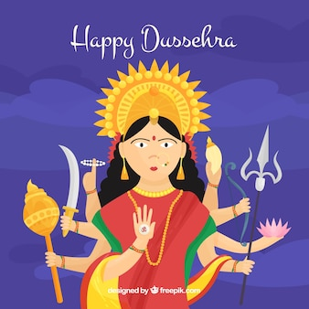Happy dussehra background with a god