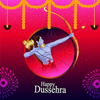 Happy dussehra background with lord rama
