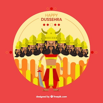 Happy dussehra background with warrior