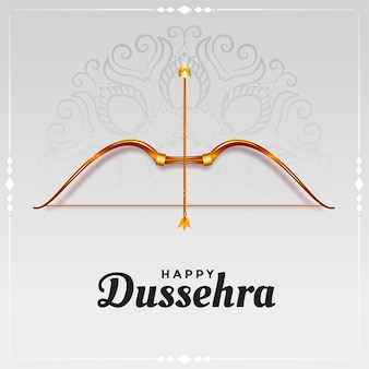 Happy dussehra bow and arrow card design