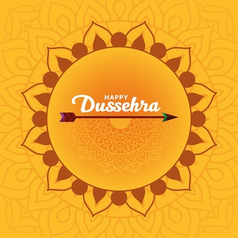 Happy dussehra card with arrow on yellow