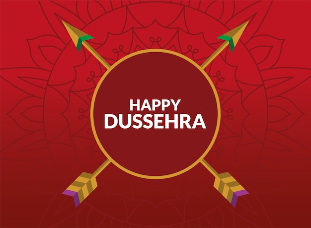 빨간색 원 안에 화살표와 함께 행복 dussehra 카드