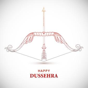 활과 화살을 가진 행복 dussehra 카드