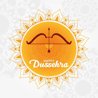 Happy dussehra card with bow and arrow on orange