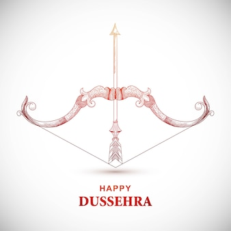 Happy dussehra card with bow and arrow