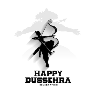 Happy dussehra card with lord rama and raavan silhouette