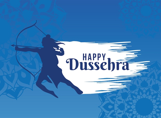Happy dussehra card with silhouette holding a bown and arrow Premium Vector