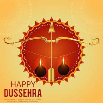 Happy dussehra celebration background with gold bow and arrow