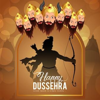 Happy dussehra celebration background with illustration of lord rama killed ravan