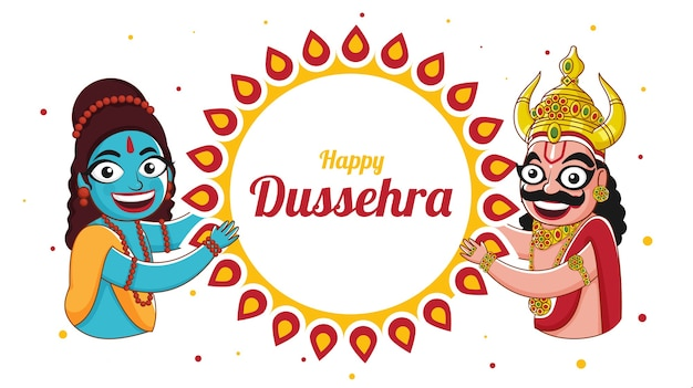 Happy dussehra celebration banner design with cheerful god rama and demon ravan character on mandala frame white background.