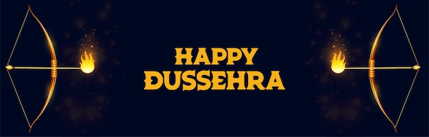 Happy dussehra celebration banner with bow and flamed arrow vector