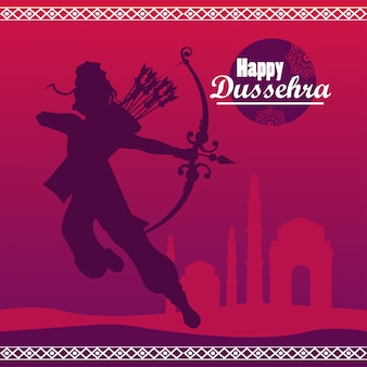 Happy dussehra celebration card with god rama shadow in purple background.