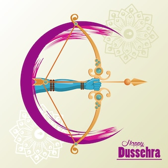 Happy dussehra celebration card with hand and arch.