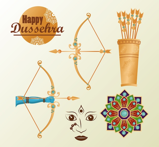 Happy dussehra celebration card with lettering abd set icons.
