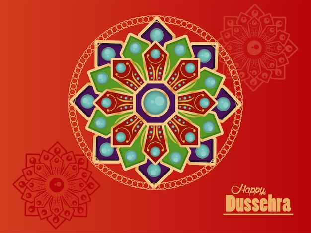 Happy dussehra celebration card with mandalas in red background.