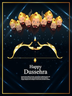 Happy dussehra celebration card with realistic vector illustration
