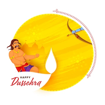 Happy dussehra celebration concept with lord rama killing to ravana on white and yellow brush texture background.