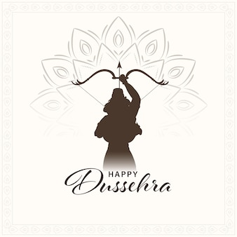 Happy dussehra celebration concept with silhouette lord rama or lakshmana taking aim on mandala pattern white background.