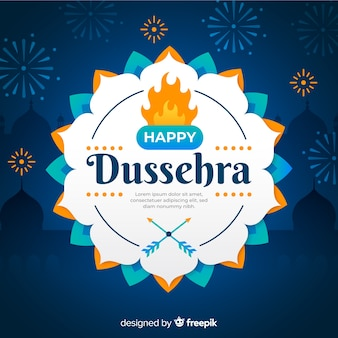 Happy dussehra celebration on flat design