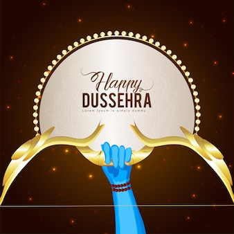Happy dussehra celebration greeting card with golden vector arrow and bow