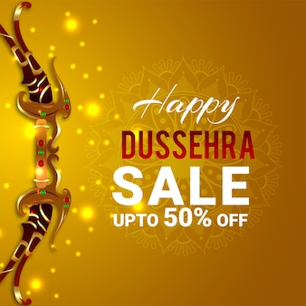 Happy dussehra celebration greeting card with vector illustration
