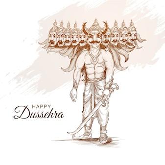 手描きのスケッチデザインで幸せなダシャラ祭のラーヴァナ