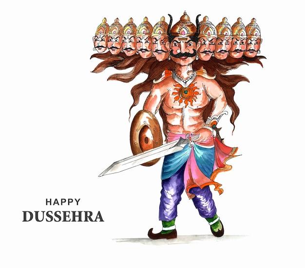 Happy dussehra celebration ravan with watercolor design