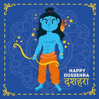 Happy dussehra celebration with lord rama blue character in mandala