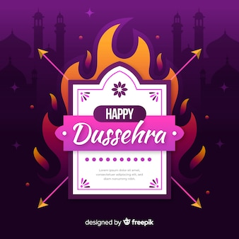 Happy dussehra concept on fire