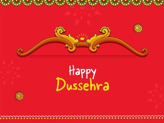 Счастливая концепция dussehra с луком и стрелкой иллюстрации на красном фоне.