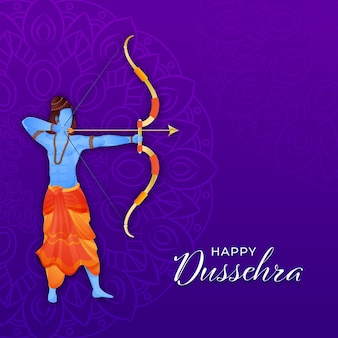 Happy dussehra concept with hindu mythological rama aiming from his weapons on purple mandala pattern background.