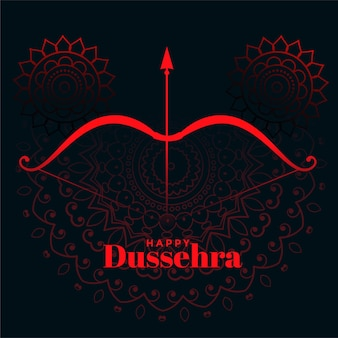 Happy dussehra decorative festival wishes card design
