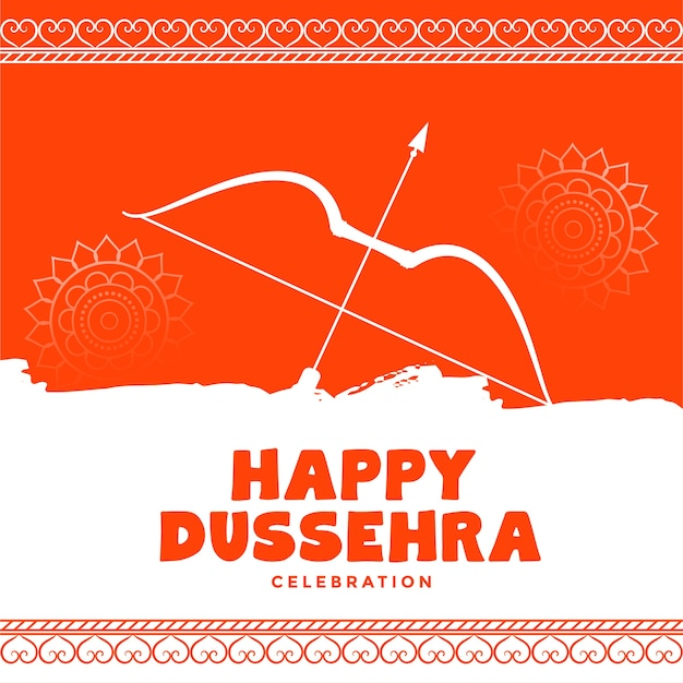 Happy dussehra decorative orange wishes greeting card design
