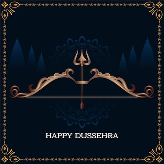 Happy dussehra festival background with stylish dhanush vector