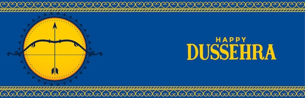 Happy dussehra festival blue banner with bow and arrow