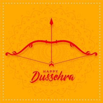 Happy dussehra festival card with bow and arrow